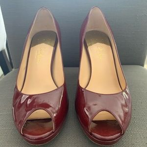 Cole Haan Cherry Patent Leather Peep-Toe Pumps